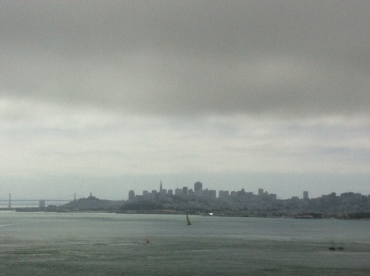 Looking back at San Francisco from the Golden Gate Bridge