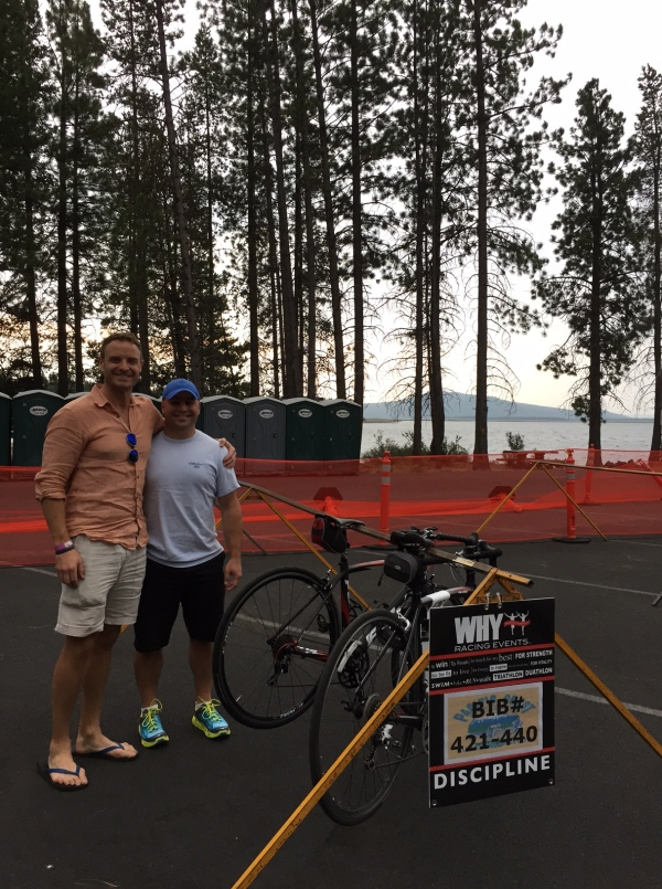 Ben and Nick checking out the swim and setting up the bike transition.