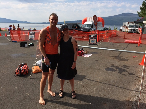 Ben and Mary Ann take a breather after their  swim.